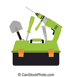 color silhouette with toolbox set with drill and screwdriver and shovel and screw