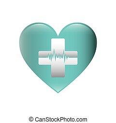 color, silueta, con, corazón, con, cruz, con, línea, de, signo vital