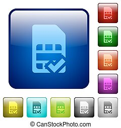 Color SIM card accepted square buttons