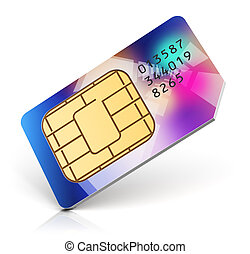 Color SIM card - Creative abstract mobile telecommunication,...