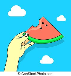 simple vector flat art cartoon illustration of a hand with watermelon