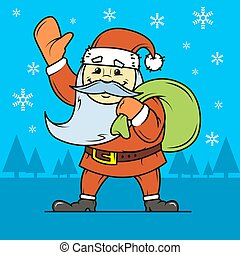 simple vector flat art illustration of cartoon Santa Claus with a bag of gifts