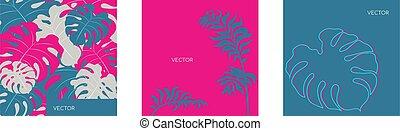 color, simulado, bandera, verano, glitch, medios, tela, poste, social, twig., vegitation, vector, selva, plano, follaje, plantillas, tropical, set., motiff, botánico, exótico, arriba., fondos, monstera, floral, leaf., paquete, rosa