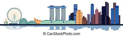 Color singapore city skyline. Vector illustration