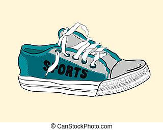Color sketch of a sneaker