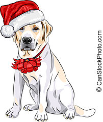 color sketch of the puppy dog Labrador Retriever breed in the red hat of Santa Claus with Christmas bow