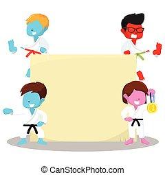 color skin karate kids and sign