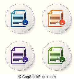Color Smart contract icon isolated on white background. Blockchain technology, cryptocurrency mining, bitcoin, altcoins, digital money market. Set icons in circle buttons. Vector Illustration