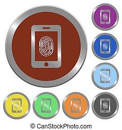 Color smartphone fingerprint identification buttons - Set of...