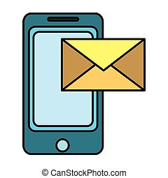 color smartphone technology with electronic e-mail message