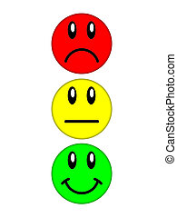 Color smiley faces on a white background