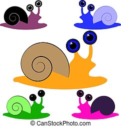 Color snail on white background