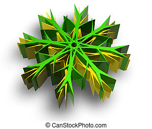 Color snow flake render on white background