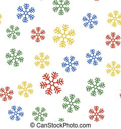 Color Snowflake icon isolated seamless pattern on white background. Vector