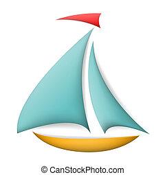 color, sombras, aislado, barco