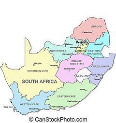 South Africa map - Color South Africa map with regions over...