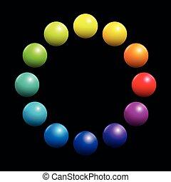 Color Spectrum Circle Rainbow Colored Balls Black