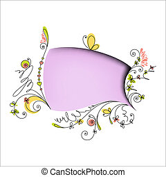 Color speech bubble with floral elements on white background