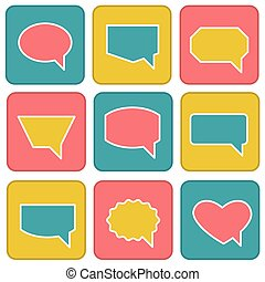 Color speech bubbles in flat style . Icons set