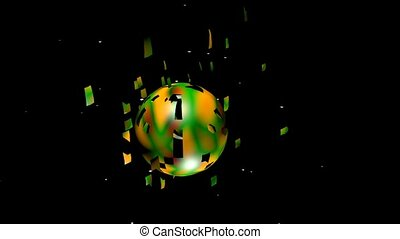 Color sphere crumbling and exploding on black background....