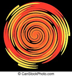 Color spiral on a black background, abstraction