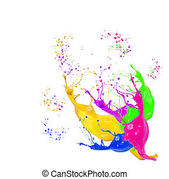 color splash - Colored splashes on white background