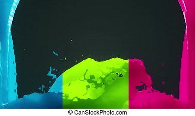 Color splash design - 2 streams of color colliding and...