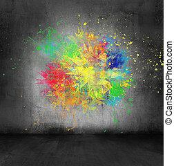 color splash on concrete wall