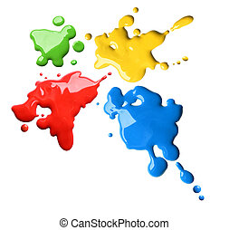 Color splashes - Splashes of four color red blue green...