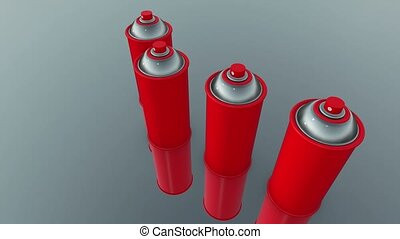 Color spray cans in red