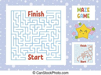 Color square maze. Find the right path from start to finish. Kids worksheets. Activity page. Game puzzle for children. Cute cartoon star. Labyrinth conundrum. Vector illustration. With answer.