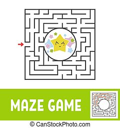 Color square maze. Game for kids. Puzzle for children. Find the way to the cute star. Labyrinth conundrum. Flat vector illustration isolated on white background. With the answer.