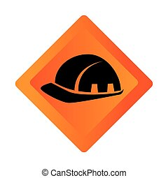 color square road sign with helmet icon