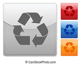 square web buttons recycle symbol