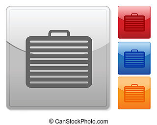 square web buttons suitcase