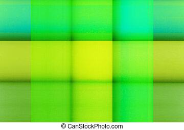 Color Squares - Closeup photograph of color squares. Green...
