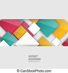 color, squares., vector, resumen, plano de fondo