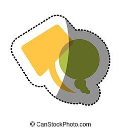 color squere and round chats bubbles icon, vector ...