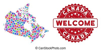 Color Star Canada Map Composition and Scratched Welcome Seal