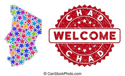 Color Star Chad Map Collage and Textured Welcome Stamp
