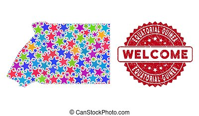 Color Star Equatorial Guinea Map Mosaic and Textured Welcome...
