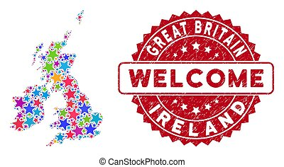 Color Star Great Britain and Ireland Map Mosaic and Grunge Welcome Stamp