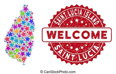 Color Star Saint Lucia Island Map Composition and Distress Welcome Seal