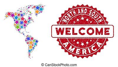 Color Star South and North America Map Composition and Grunge Welcome Stamp Seal
