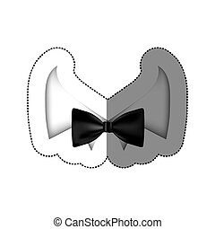 color sticker bow tie with shirt icon