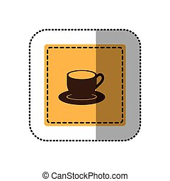 color sticker cup with plate icon