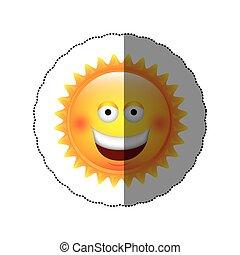 color sticker happy sun icon