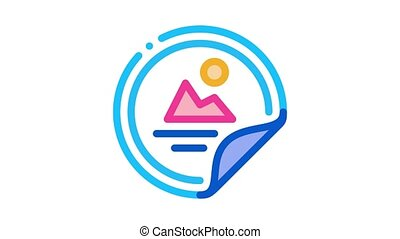 color sticker Icon Animation. color color sticker animated icon on white background