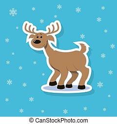 sticker illustration of a flat art cartoon cheerful deer