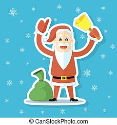 sticker illustration of a flat art cartoon cute Santa Claus with bell and sack with gifts
